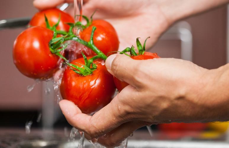 Wash tomatoes well.
