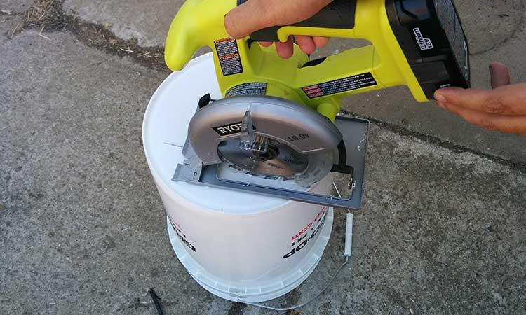 Cutting Drainage Slots In Bucket Bottom