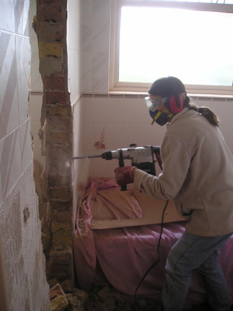 Using a hammer drill