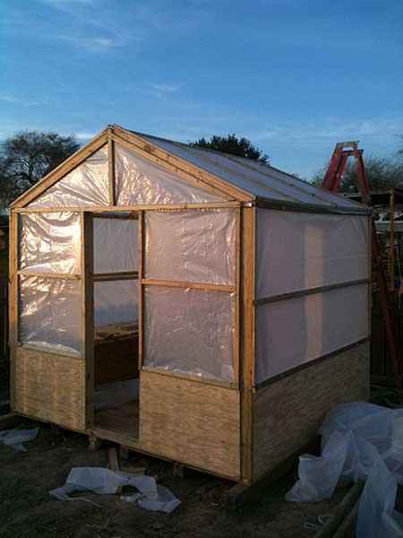 Plywood and Plastic Greenhouse