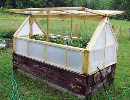 Railroad Tie Raised Bed With Greenhouse