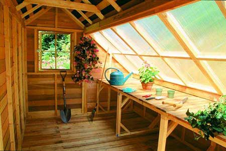 Scenic Sloped-Roof Greenhouse