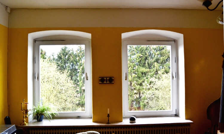 Sunny windows provide light