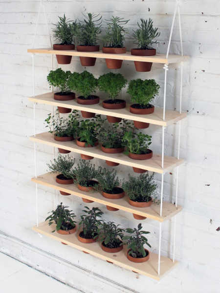 hanging rope and board pot rack