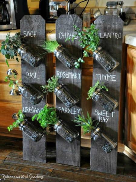 mason jar and fence board herb planter