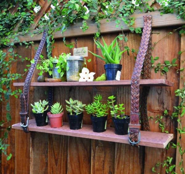 old belt fence shelves