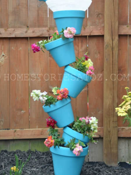 quirky pot stack with birdbath