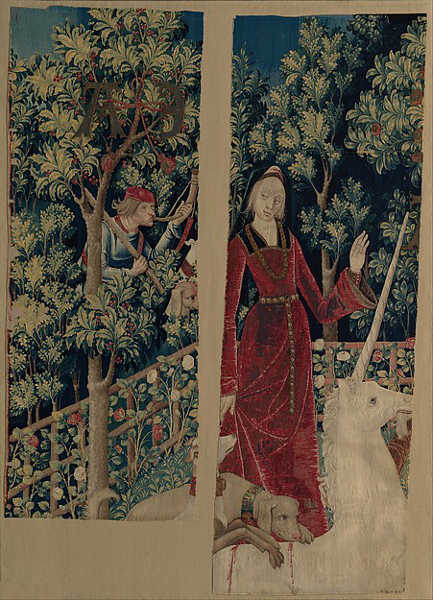 Mystic Capture Of The Unicorn tapestry fragments