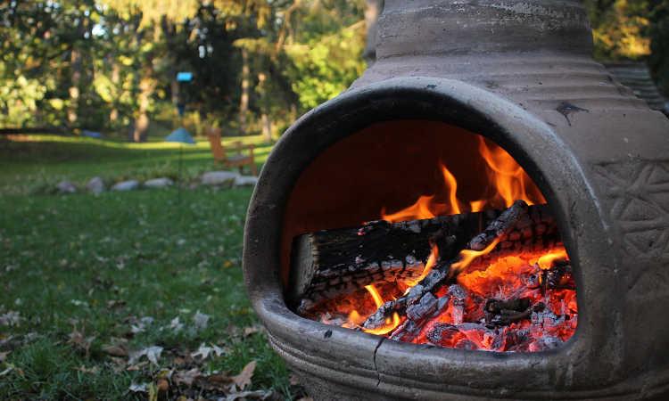 Fire in chiminea