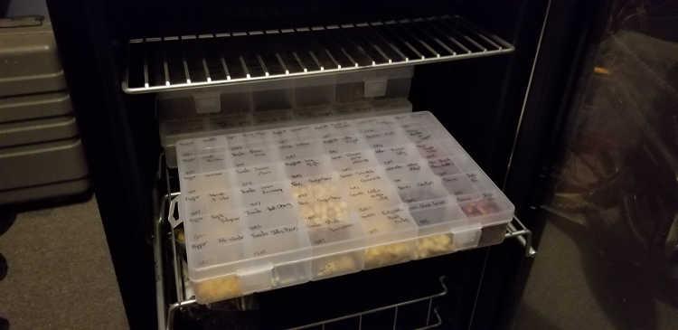 Seed storage box in NewAir beverage cooler