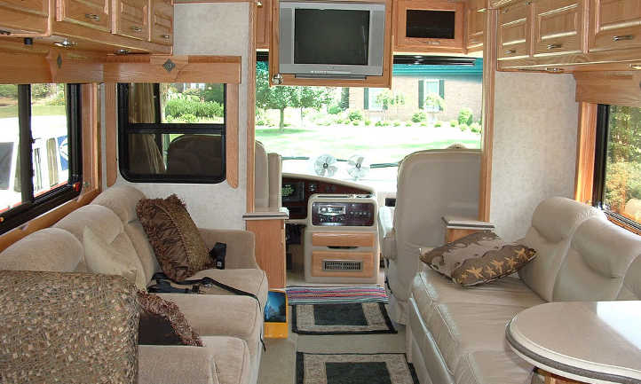 The inside of an RV has lots of light.