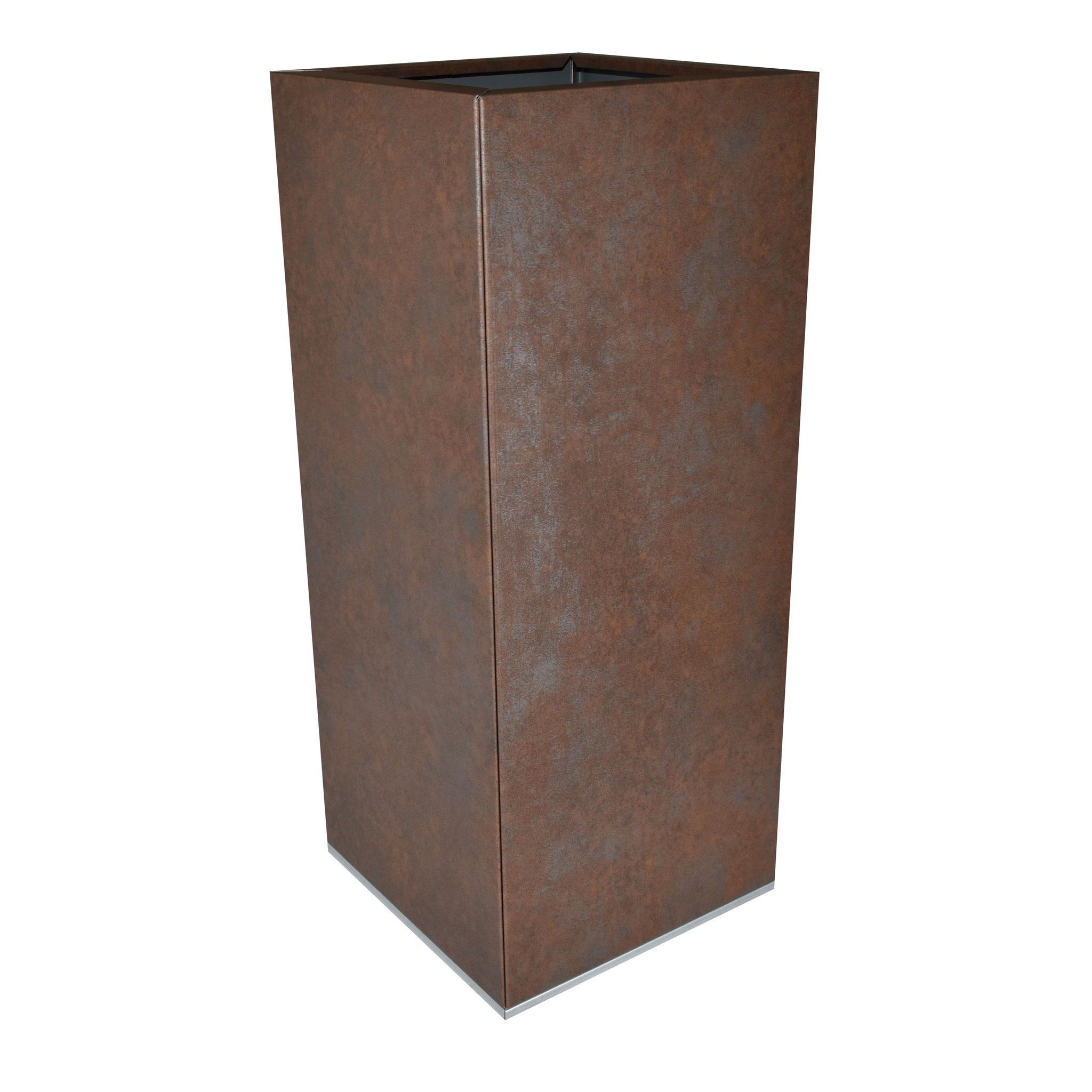 Square weathered iron-look pot