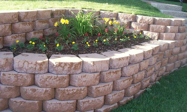 Built in raised bed with retaining wall