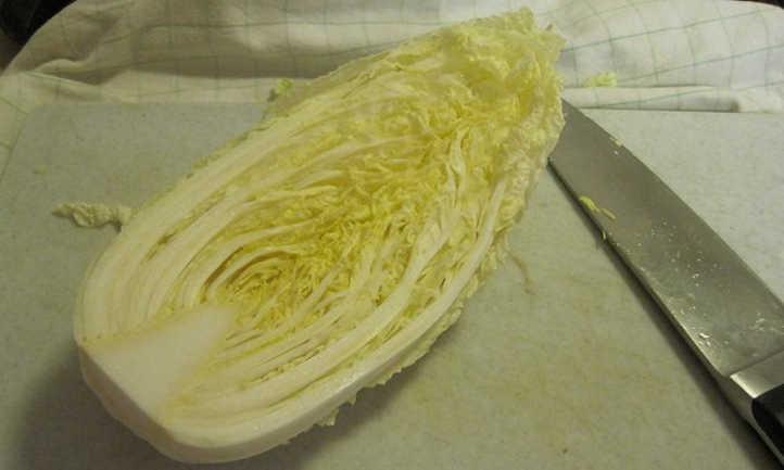 Crosscut napa cabbage