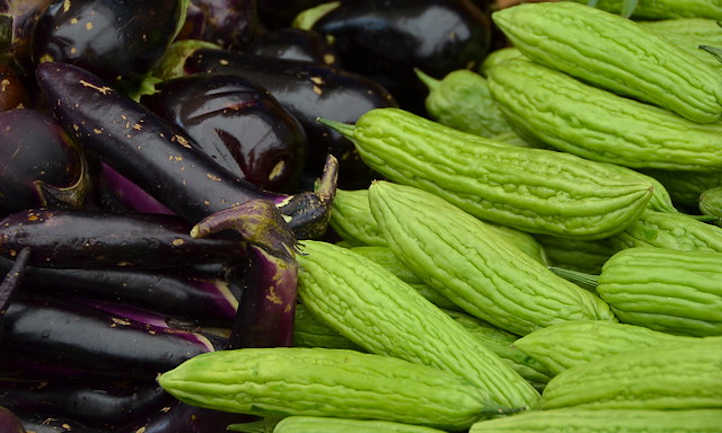 Balsam pear and eggplant